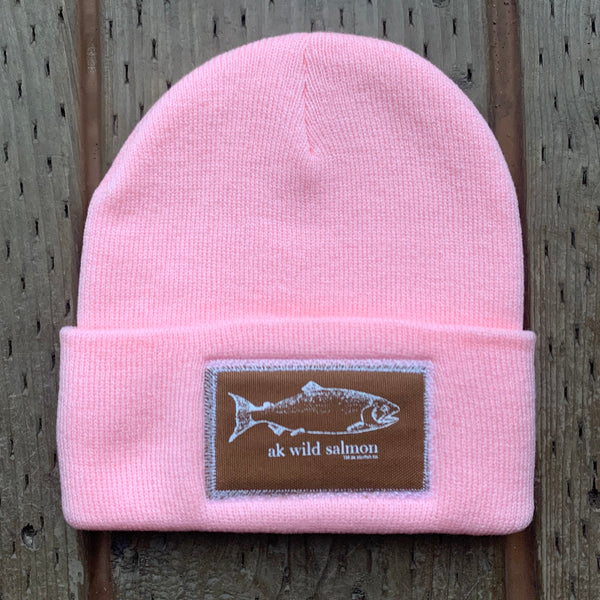 Winter Pink AK Wild Salmon Patch Beanie 35.00