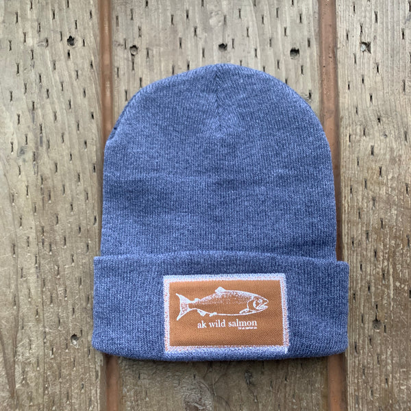 Ice Fishing AK Wild Salmon Patch Beanie $35.00
