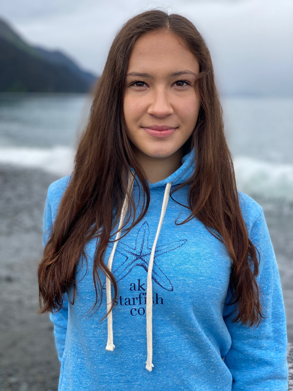Forgetmenot Blue AK Starfish Co. Triblend Pullover Hoody