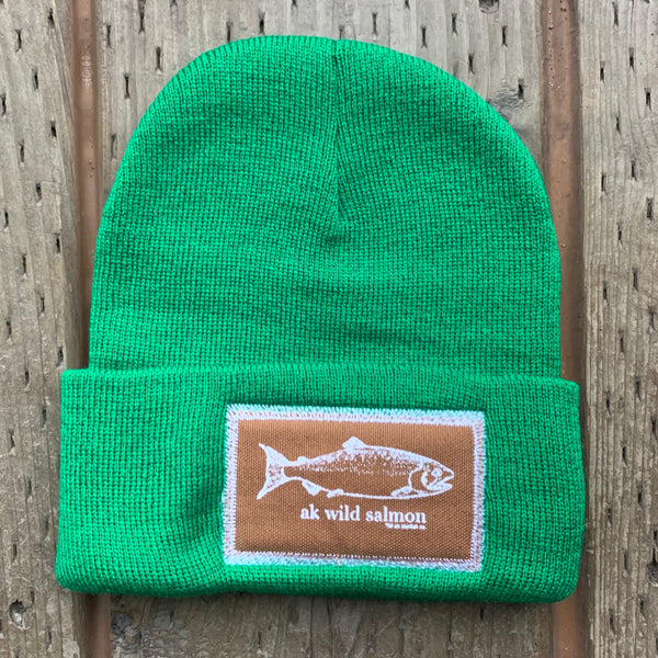 Beach Grass AK Wild Salmon Patch Beanie $35.00