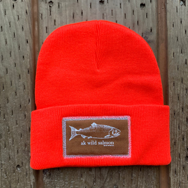 Sunset AK Wild Salmon Patch Beanie $35.00