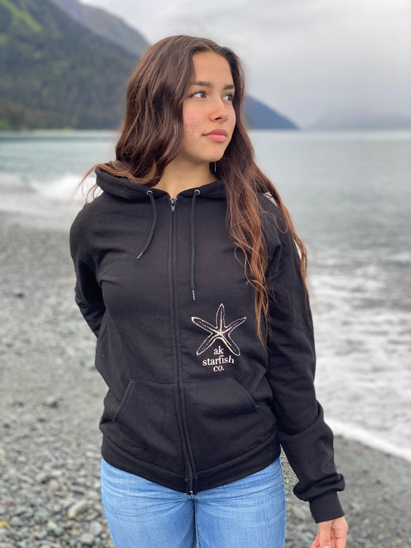 Black AK Starfish Co. 100% Organic Cotton Zipped Hoody $65