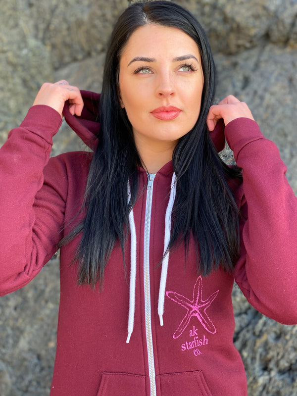 Rosehip AK Starfish Co. 50/50 Zipped Hoody $65.00