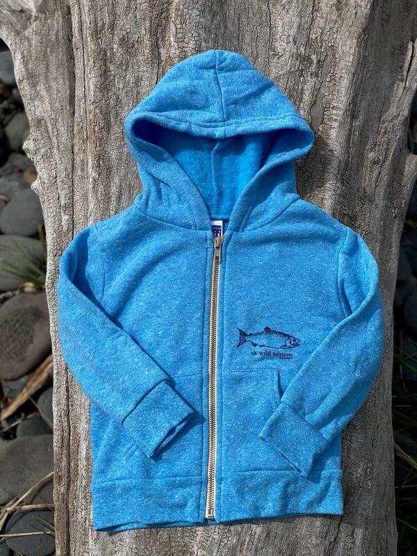 Forget-me-not Blue AK Wild Salmon Children's Zipped Hoody $45.00