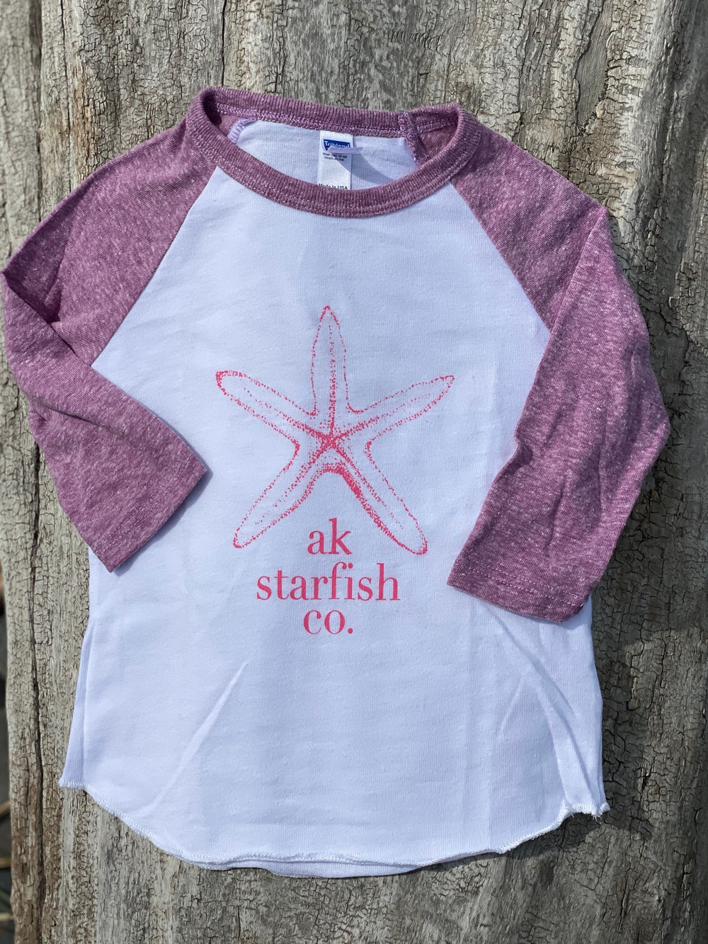 White with Beach Mussel Shell Sleeve AK Starfish Co. 3/4 Sleeve Raglan $30.00