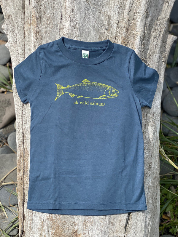 Beach Navy AK Wild Salmon Children's Short Sleeve Tee $25.00