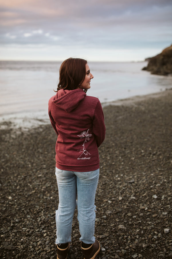 Beach Rose AK Wildflower Triblend Pullover Hoody $60.00