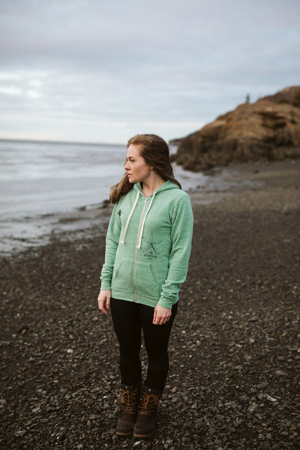 Beach Grass AK Starfish Co. Triblend Zipped Hoody $65.00