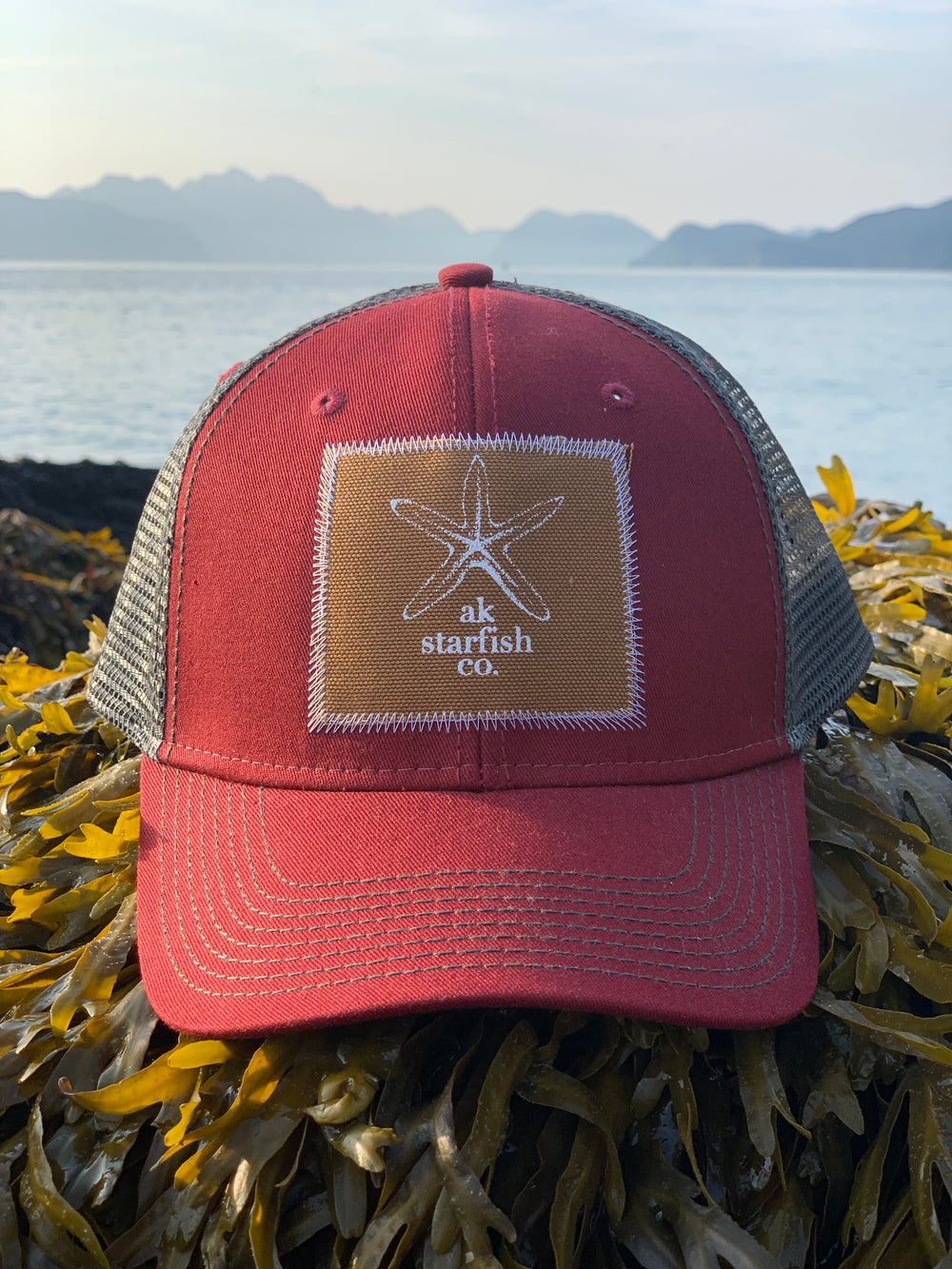 Cranberry with Slate AK Starfish Co. Patch Hat 35.00