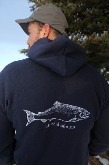 Midnight AK Wild Salmon 50/50 Zipped Hoody $65.00