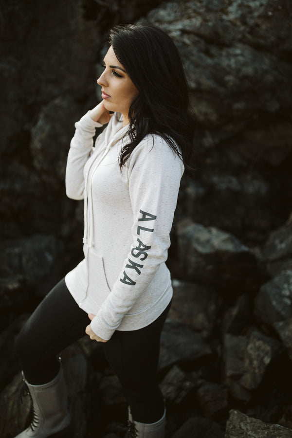Pearl AK Mermaid with ALASKA sleeve Triblend Zipped Hoody $65.00
