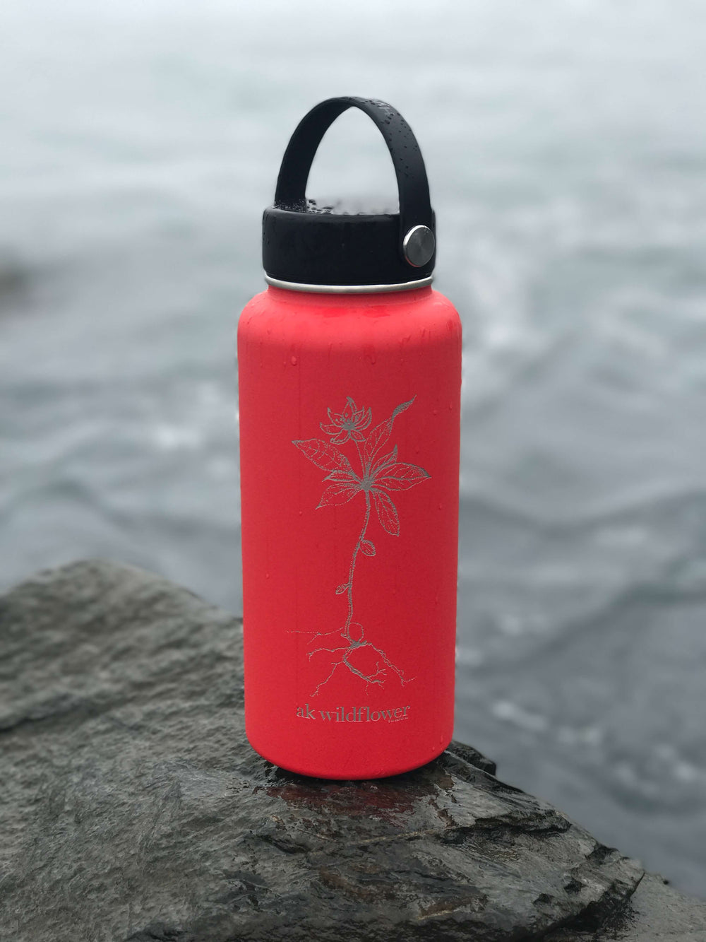 Red AK Wildflower 32oz Hydroflask (Flex Cap or Straw Lid)