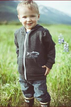 Slate AK Wild Salmon Children's 50/50 Zipped Hoody$45.00