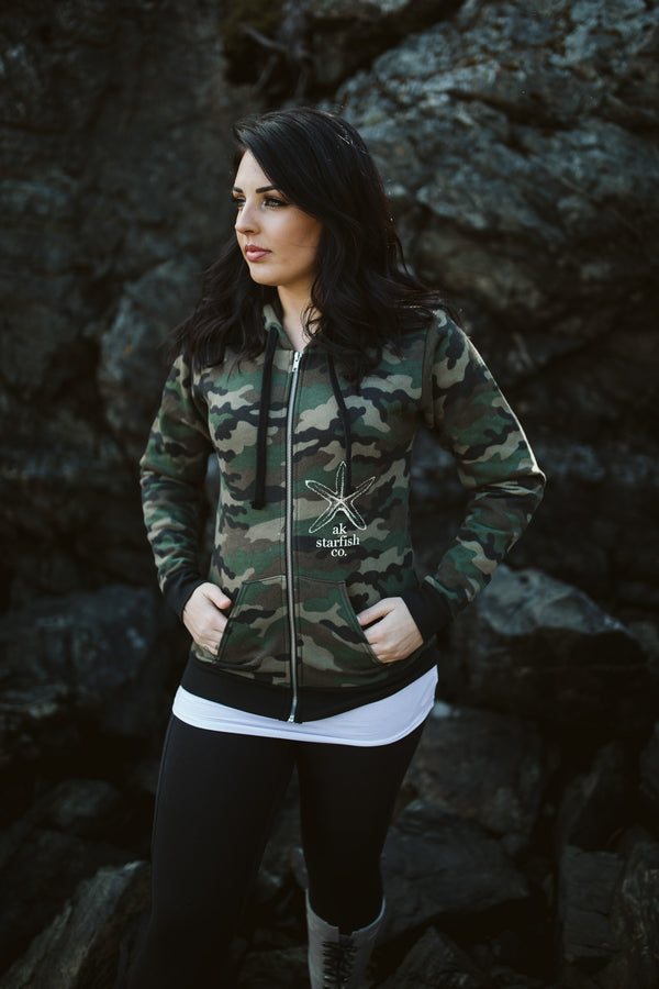 Camo AK Starfish Co. 50/50 Zipped Hoody $65.00