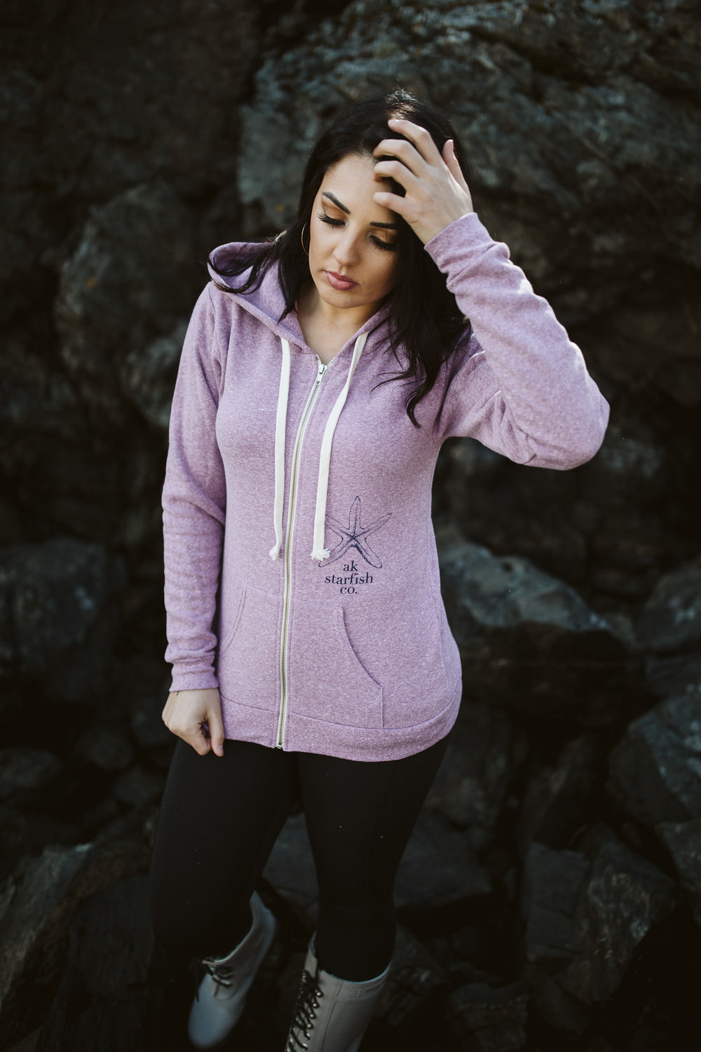 Beach Mussel Shell AK Starfish Co. Triblend Zipped Hoody $65.00