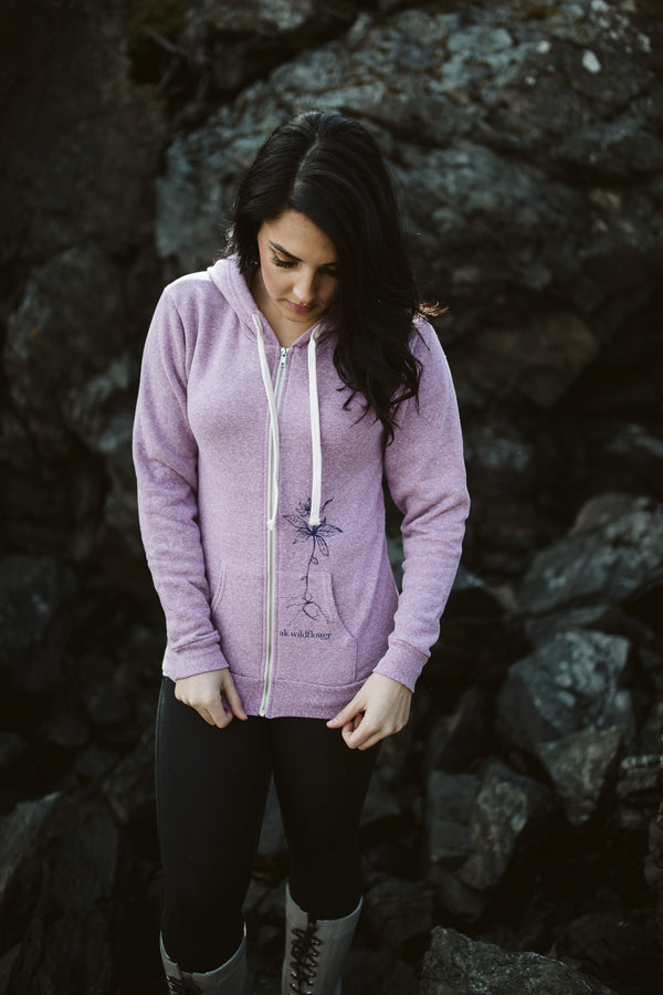 Beach Mussel Shell AK Wildflower Triblend Zipped Hoody $65.00