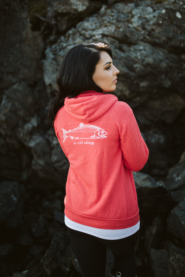 Beach Red AK Wild Salmon Triblend Zipped Hoody $65.00