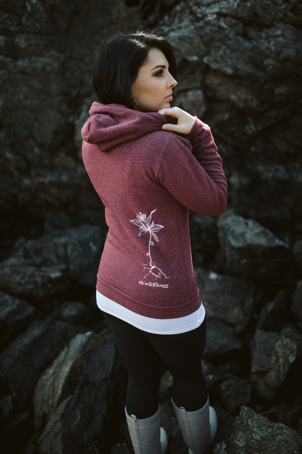 Beach Rose AK Wildflower Triblend Zipped Hoody $65.00