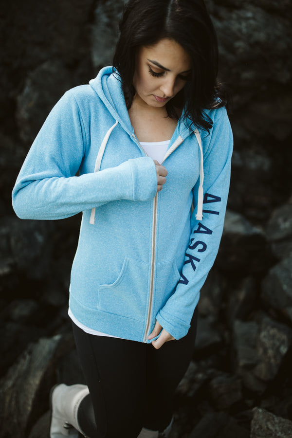 Forgetmenot Blue AK Mermaid with ALASKA Sleeve Triblend Zipped Hoody $65.00