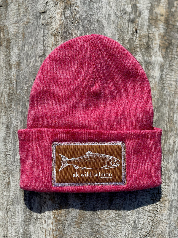 Beach Red AK Wild Salmon Patch Beanie $35.00