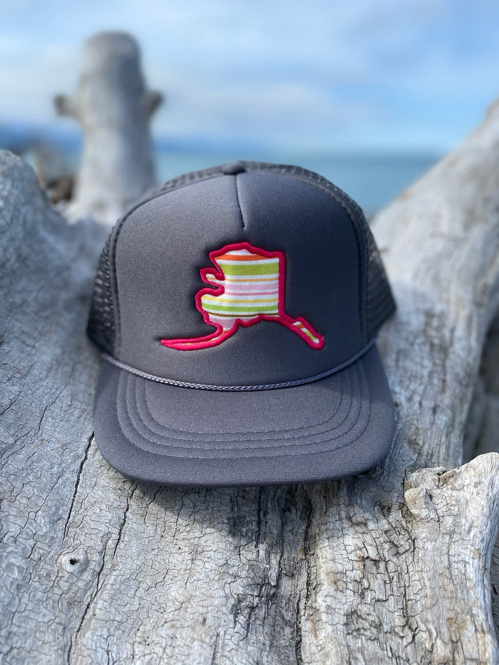 Spring Stripes Alaska Map Trucker Hat