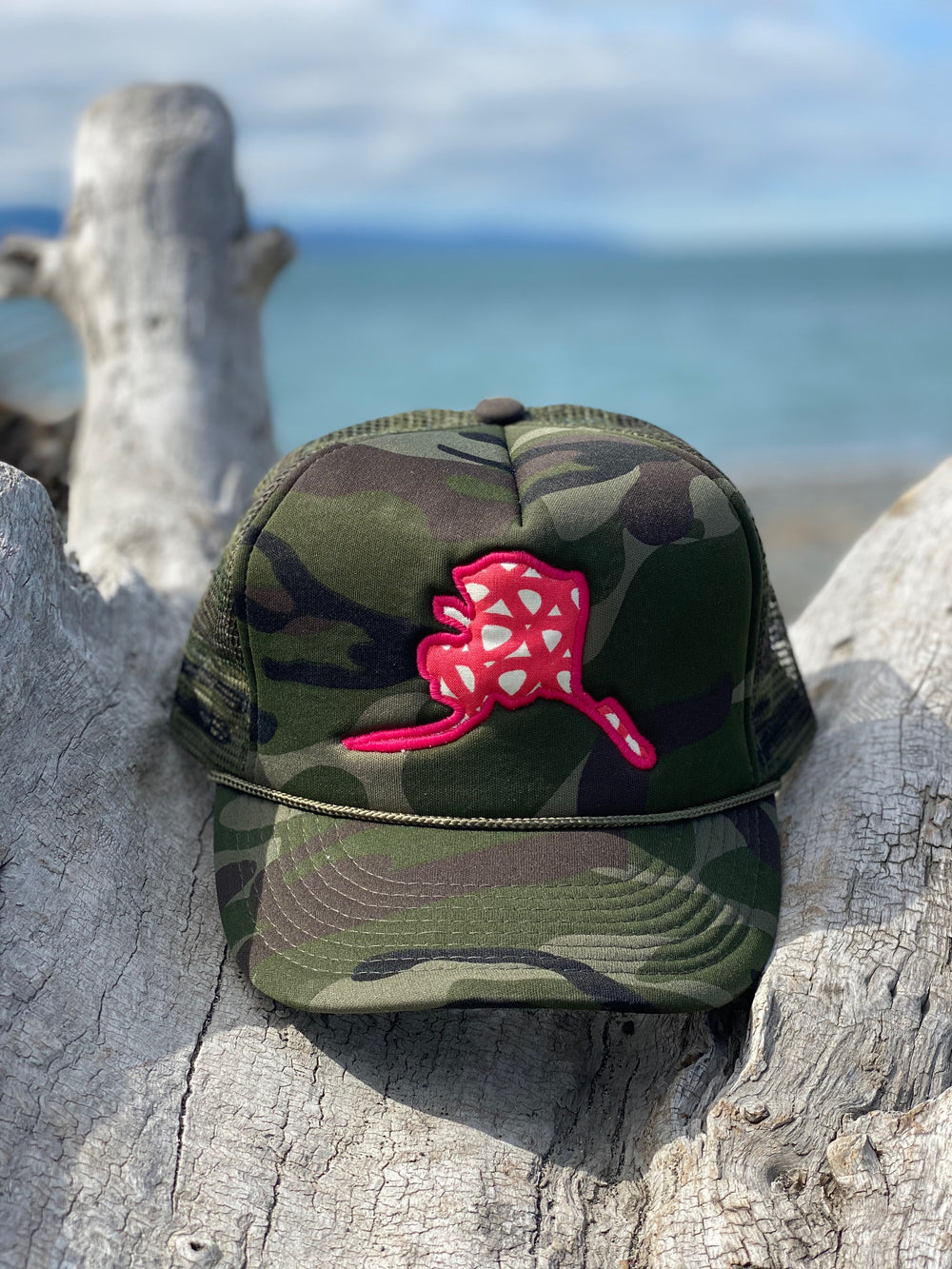 Camo and Wild Rose Alaska Map Hat