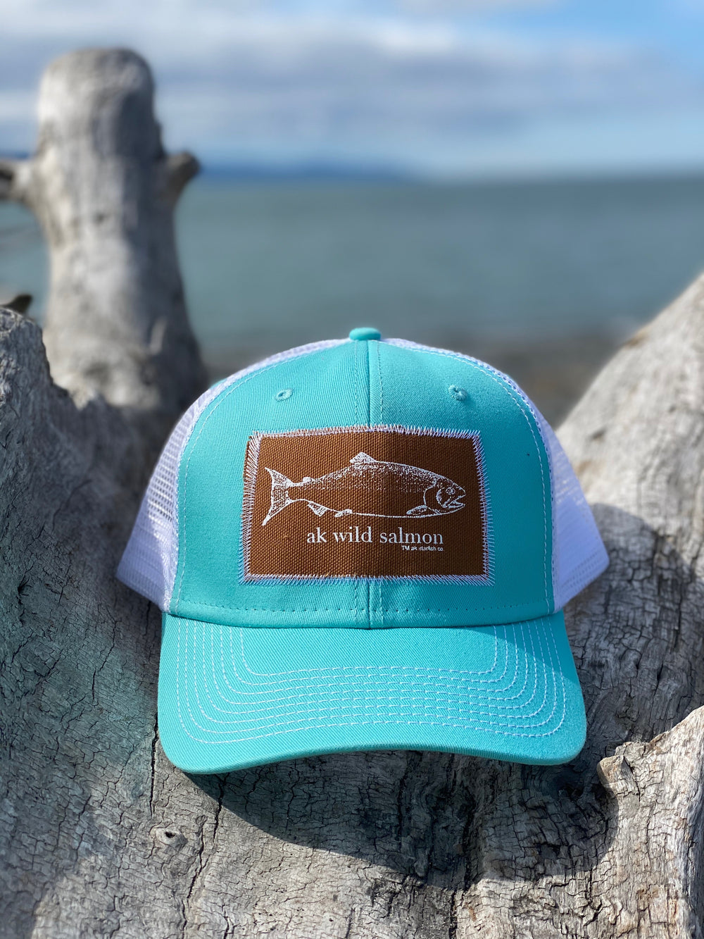 Glacier AK Wild Salmon Patch Hat $35.00