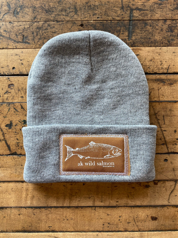 Heather Gray AK Wild Salmon Patch Beanie 35.00