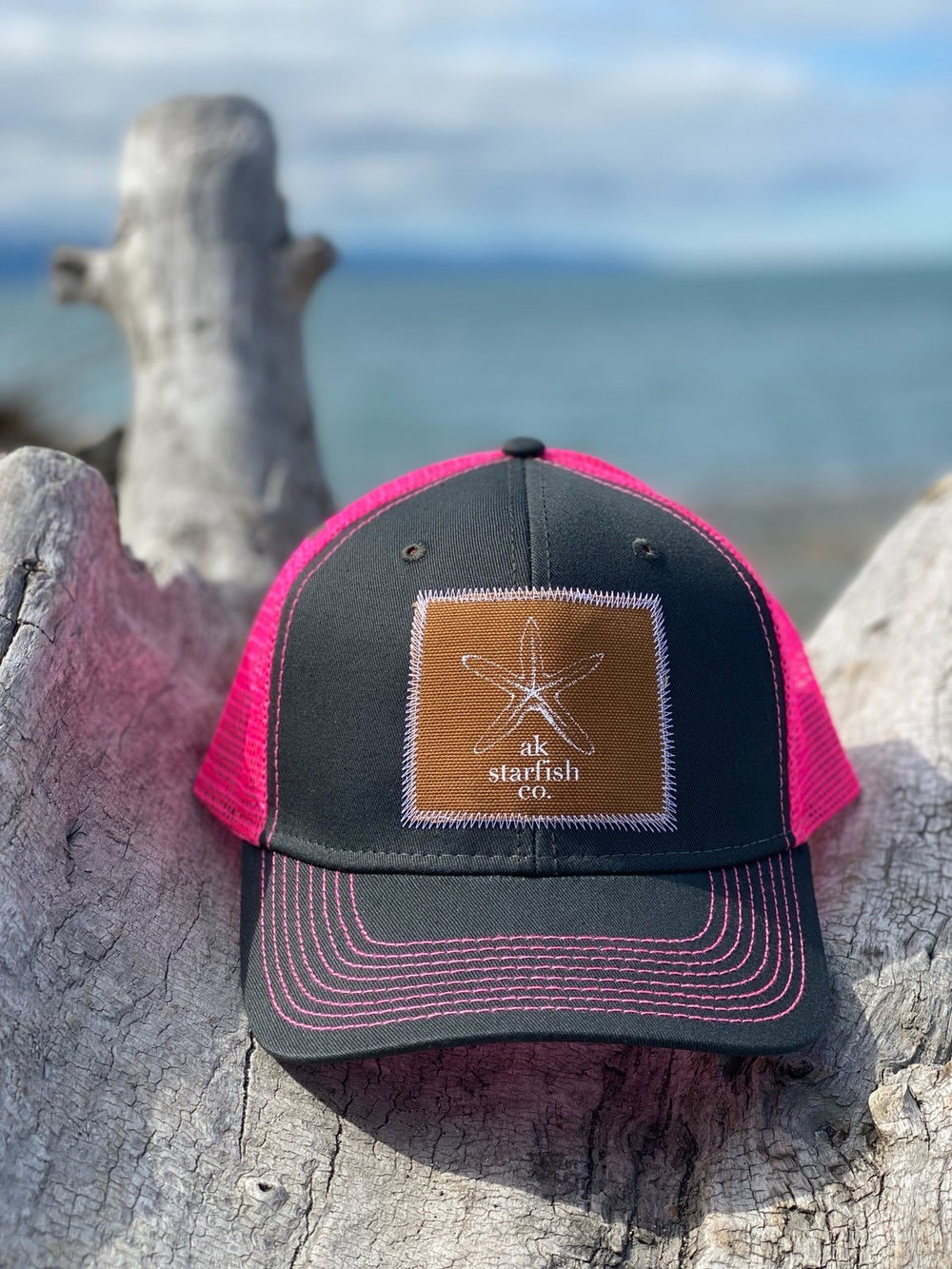 Slate and Glow Pink AK Starfish Co. Patch Hat 35.00