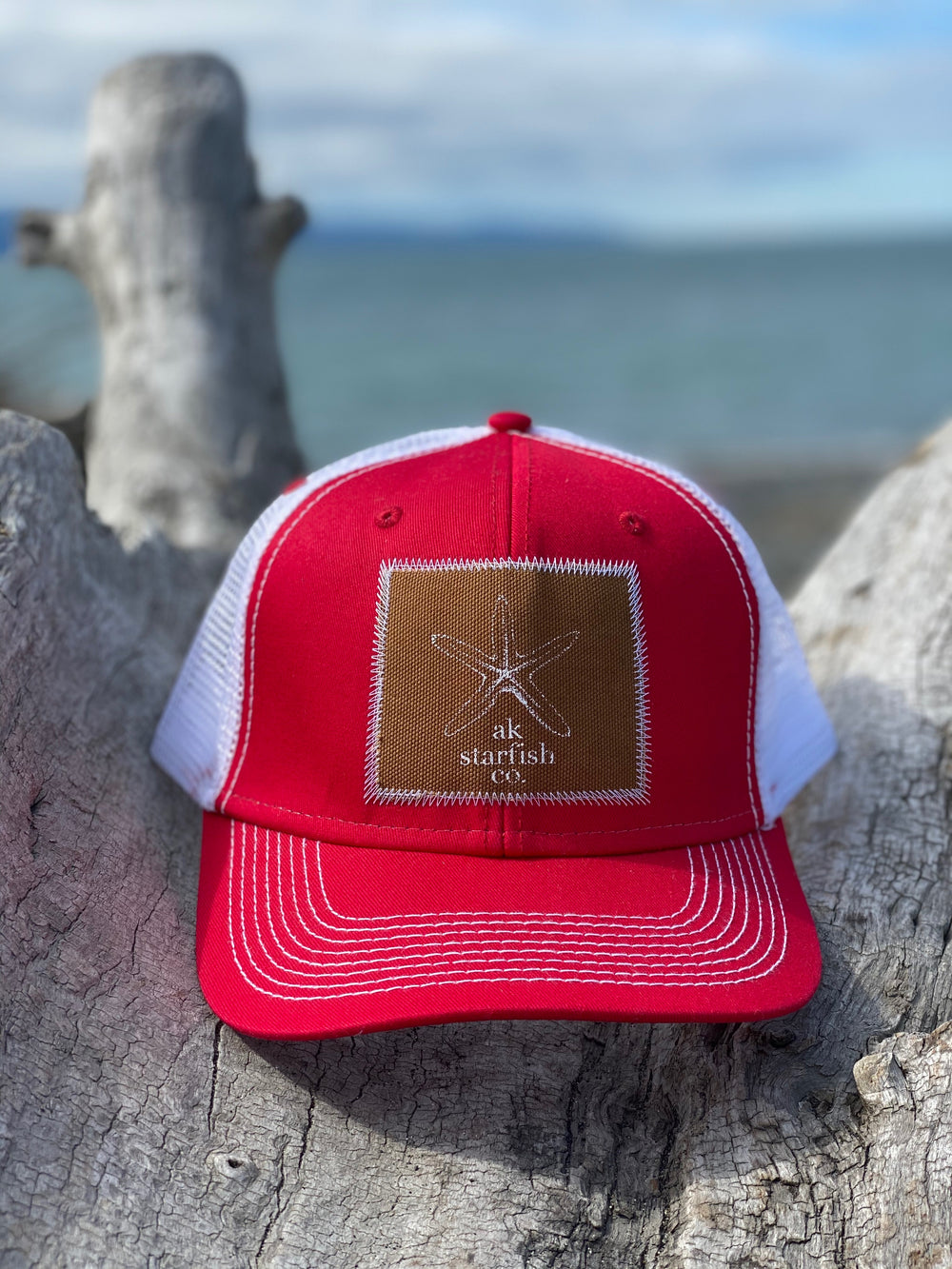 Beach Red AK Starfish Co. Patch Hat $35.00