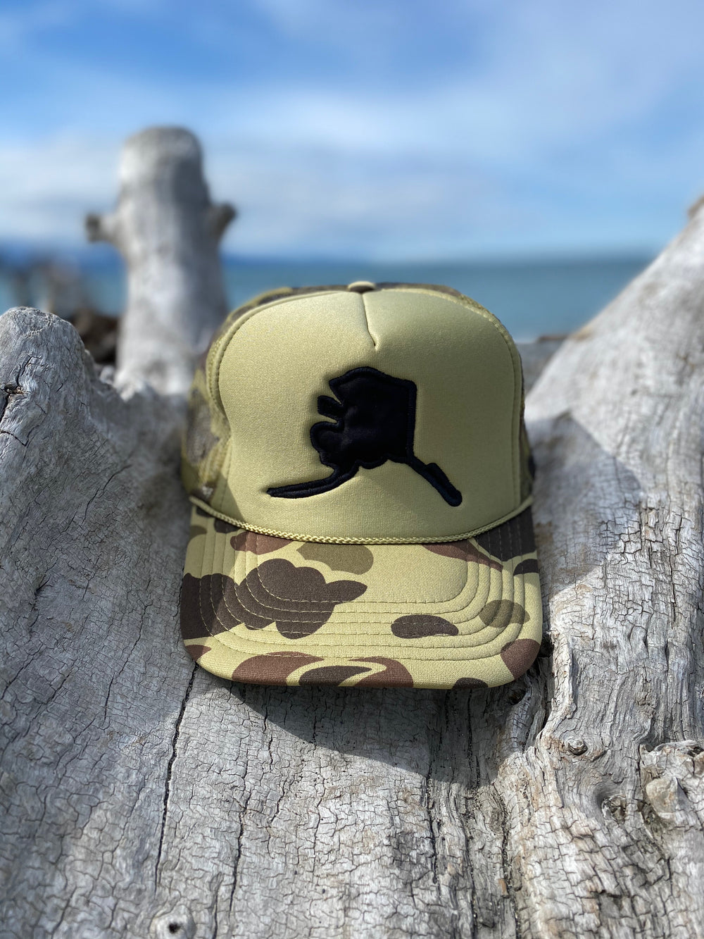 Light Camo Alaska Map Trucker Hat