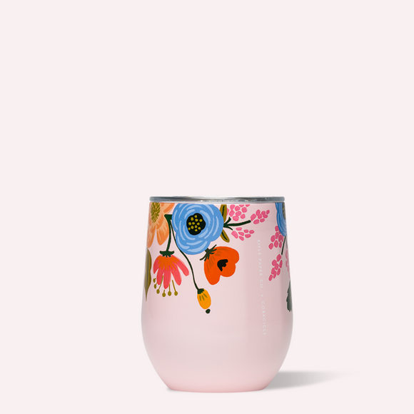 Stemless Corkcicle Rifle Paper Lively Floral Pink