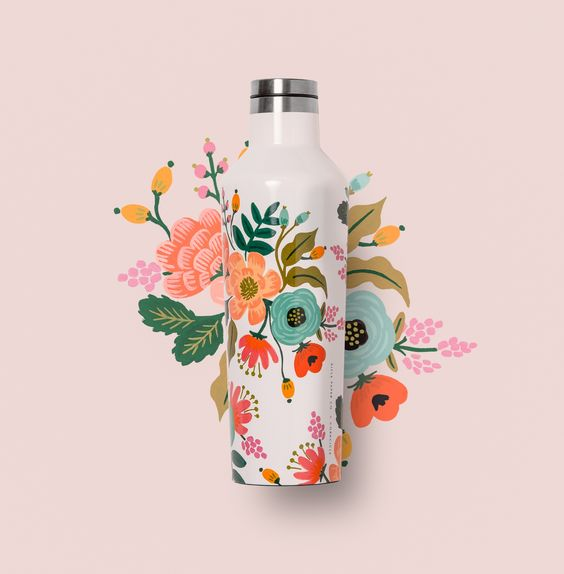 Canteen Corkcicle Rifle Paper Lively Floral Cream