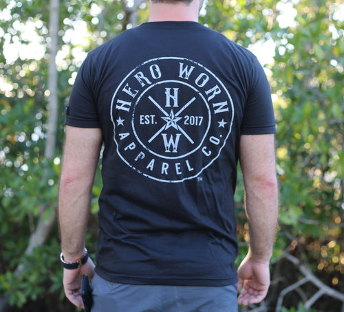 The original black unisex T shirt is made to honor police officers, firefighters, military members, paramedics, doctors, nurses and teachers. Every Hero Worn Apparel Company product comes with a Hero Patch of your choosing.  Hero patches are hand made from a donated uniform that was worn in the field.