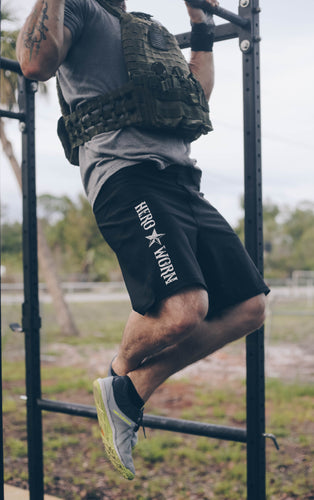 The One Star Training Shorts are perfect for tough workouts, cross training, and weight lifting. Every time you wear your Hero Worn One Star Shorts you get to honor a firefighter, police officer, military member, paramedic, nurse, doctor, or teacher.