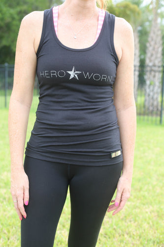 Hero Star. Jersey Racerback Tank. Black
