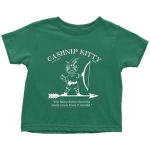 Cashnip Kitty Feline Robin Hood Toddler Tee White Logo