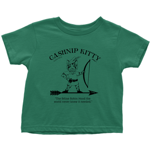 Cashnip Kitty Feline Robin Hood Toddler Tee Black Logo