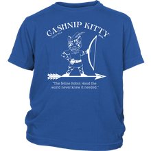 Cashnip Kitty Feline Robin Hood Youth Tee White Logo