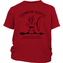 Cashnip Kitty Feline Robin Hood Youth Tee Black Logo