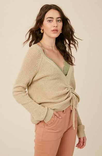 Light Olive Reversible Knit Sweater