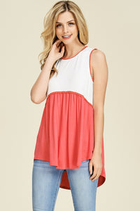 Sleeveless - Coral & White