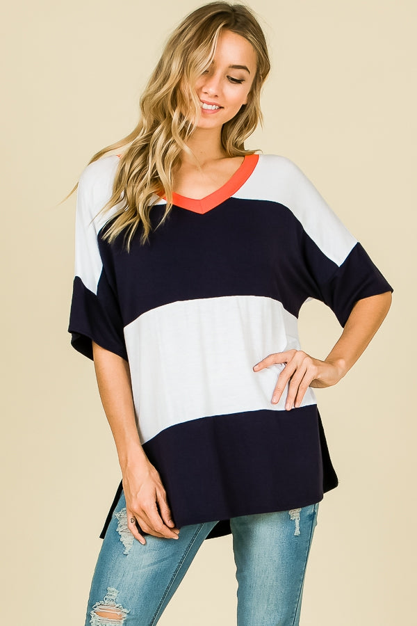 Navy and White Top with Orange V-Neck