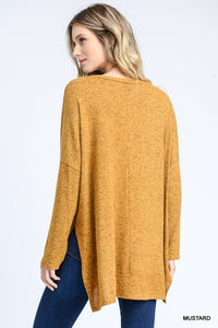 Mustard Oversized Hi-Lo Top
