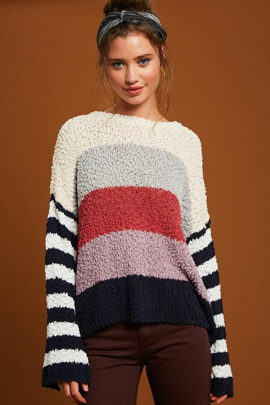 Popcorn Multi-Stripe Sweater (Navy Combo)