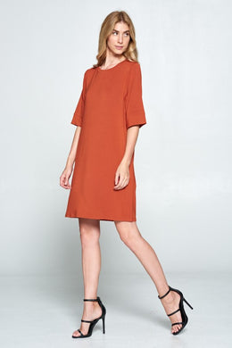 Rust Half-Sleeve T-Shirt Dress
