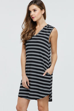 Black and White Striped Hooded Swimsuit Cover or Dress
