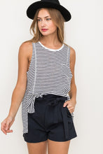 Navy Striped Sleeveless Top