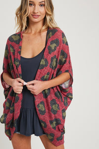 Olive Leopard Print Half Sleeve Open Cardigan