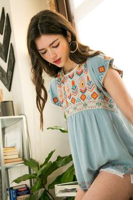 THML Blue Embroidered Top
